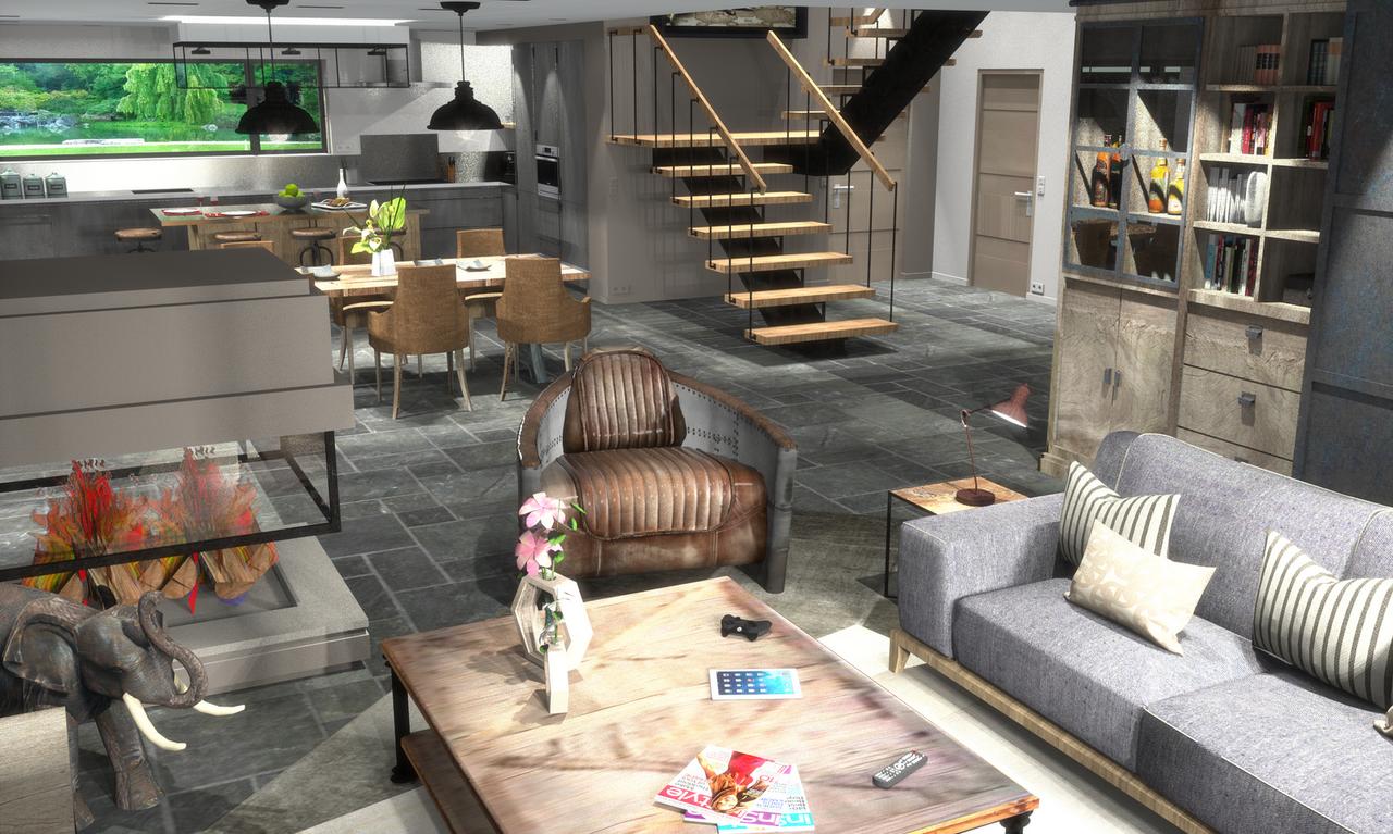 cr ation d 39 un int rieur 3d photo r aliste. Black Bedroom Furniture Sets. Home Design Ideas
