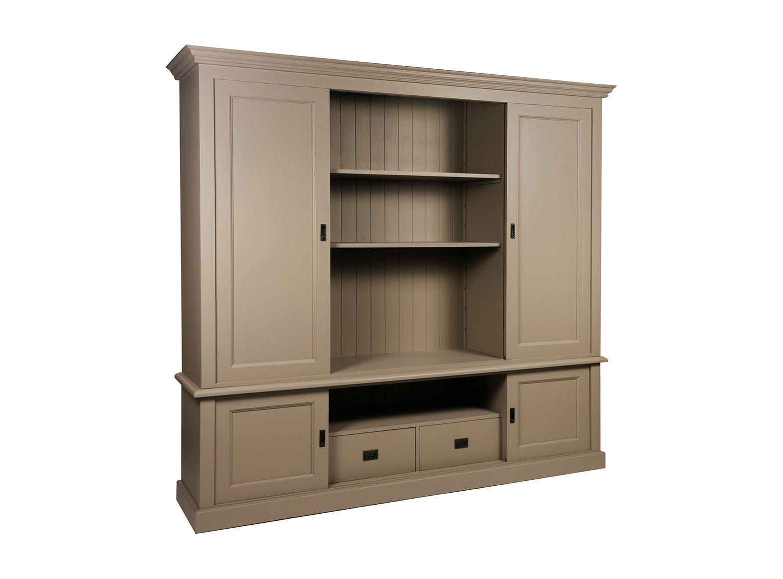Meuble multim dia biblioth que portes coulissantes jiceka d597 Meuble bureau multimedia